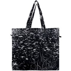 High Contrast Black And White Queen Anne s Lace Hillside Canvas Travel Bag