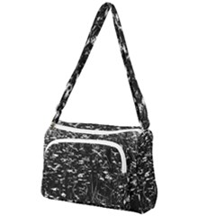 High Contrast Black And White Queen Anne s Lace Hillside Front Pocket Crossbody Bag
