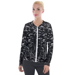 High Contrast Black And White Queen Anne s Lace Hillside Velour Zip Up Jacket