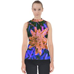 Yellow, Pink, And Blue Sumac Bloom Mock Neck Shell Top