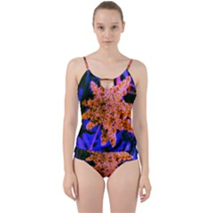 Yellow, Pink, And Blue Sumac Bloom Cut Out Top Tankini Set