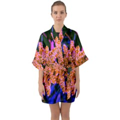 Yellow, Pink, And Blue Sumac Bloom Quarter Sleeve Kimono Robe