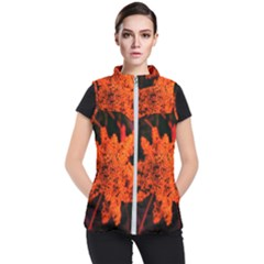 Orange Sumac Bloom Women s Puffer Vest