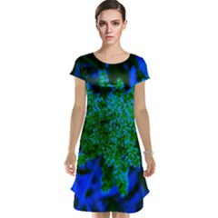 Blue And Green Sumac Bloom Cap Sleeve Nightdress