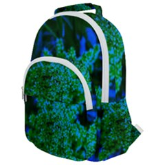 Blue And Green Sumac Bloom Rounded Multi Pocket Backpack