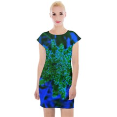 Blue And Green Sumac Bloom Cap Sleeve Bodycon Dress
