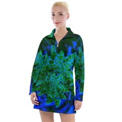 Blue And Green Sumac Bloom Women s Hoodie Dress