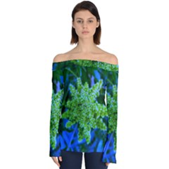 Lime Green Sumac Bloom Off Shoulder Long Sleeve Top