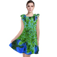 Lime Green Sumac Bloom Tie Up Tunic Dress