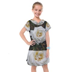 White Angular Rose Kids  Drop Waist Dress