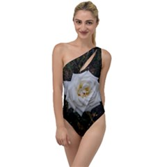 White Angular Rose To One Side Swimsuit
