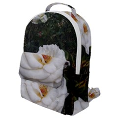 White Smooth Rose Flap Pocket Backpack (small)