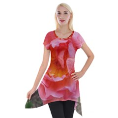 Pink Rose Short Sleeve Side Drop Tunic