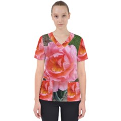 Pink Rose Women s V Neck Scrub Top