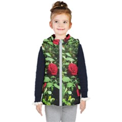Deep Red Rose Kids  Hooded Puffer Vest