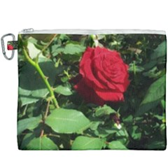 Deep Red Rose Canvas Cosmetic Bag (xxxl)