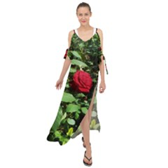Deep Red Rose Maxi Chiffon Cover Up Dress