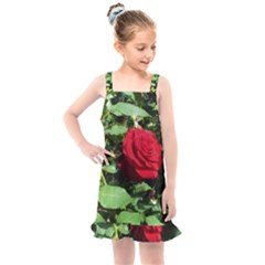 Deep Red Rose Kids  Overall Dress