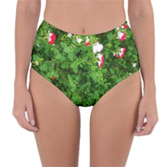 Red And White Park Flowers Reversible High Waist Bikini Bottoms