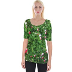 Red And White Park Flowers Wide Neckline Tee