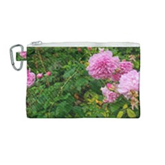 Light Pink Roses Canvas Cosmetic Bag (medium)