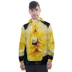 Pale Yellow Rose Men s Front Pocket Pullover Windbreaker