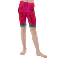 Folded Red Rose Kids  Mid Length Swim Shorts