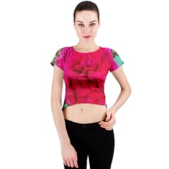 Folded Red Rose Crew Neck Crop Top
