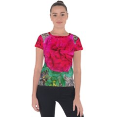 Folded Red Rose Short Sleeve Sports Top