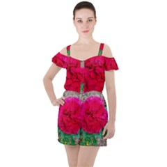 Folded Red Rose Ruffle Cut Out Chiffon Playsuit