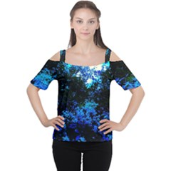 Cascade Of Flowers Cutout Shoulder Tee by okhismakingart