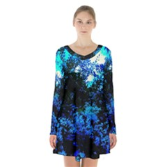 Cascade Of Flowers Long Sleeve Velvet V Neck Dress by okhismakingart