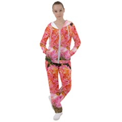 Folded Pink And Orange Rose Women s Tracksuit