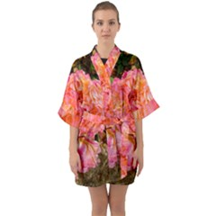 Folded Pink And Orange Rose Quarter Sleeve Kimono Robe