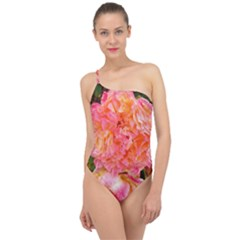 Folded Pink And Orange Rose Classic One Shoulder Swimsuit
