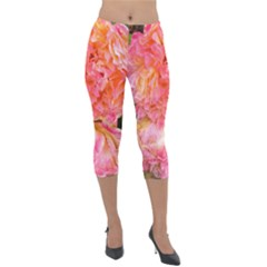 Folded Pink And Orange Rose Lightweight Velour Capri Leggings