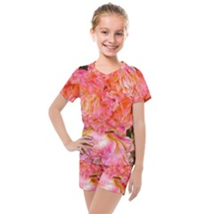 Folded Pink And Orange Rose Kids  Mesh Tee And Shorts Set