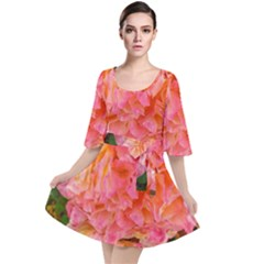 Folded Pink And Orange Rose Velour Kimono Dress