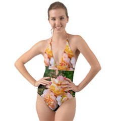 Bunch Of Orange And Pink Roses Halter Cut Out One Piece Swimsuit