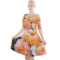 Bunch Of Orange And Pink Roses Quarter Sleeve A Line Dress