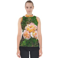 Bunch Of Orange And Pink Roses Mock Neck Shell Top