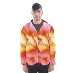 Light Orange And Pink Rose Men s Hooded Windbreaker
