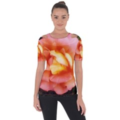 Light Orange And Pink Rose Shoulder Cut Out Short Sleeve Top