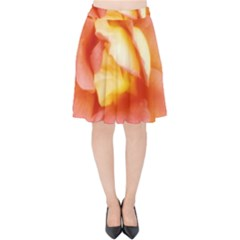 Light Orange And Pink Rose Velvet High Waist Skirt