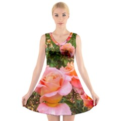 Pink Rose Field V Neck Sleeveless Dress