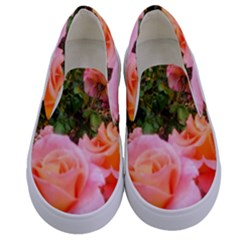 Pink Rose Field Kids  Canvas Slip Ons