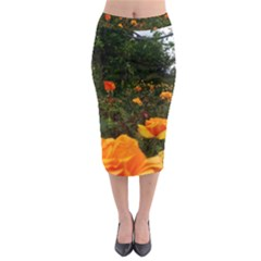 Orange Rose Field Midi Pencil Skirt