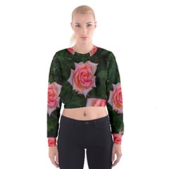 Pink Angular Rose Cropped Sweatshirt