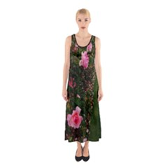 Pink Rose Field (sideways) Sleeveless Maxi Dress