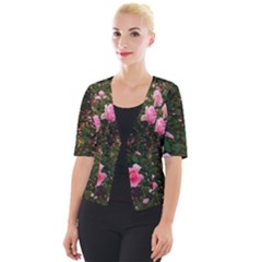 Pink Rose Field (sideways) Cropped Button Cardigan